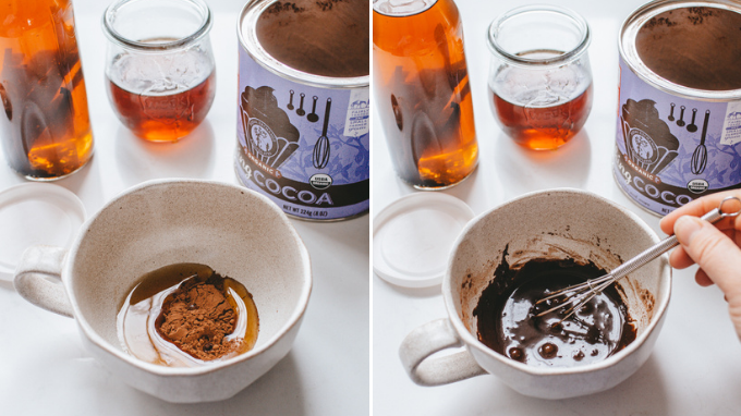 Mixing together the cocoa powder and maple syrup for a homemade cafe mocha.