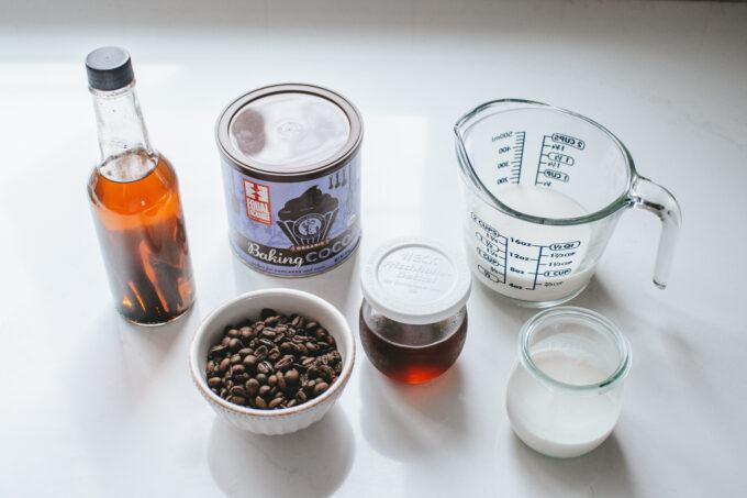 Ingredients for make cafe mochas