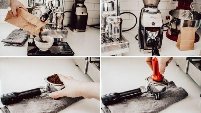 How to make espresso with an espresso machine for a homemade mocha latte.