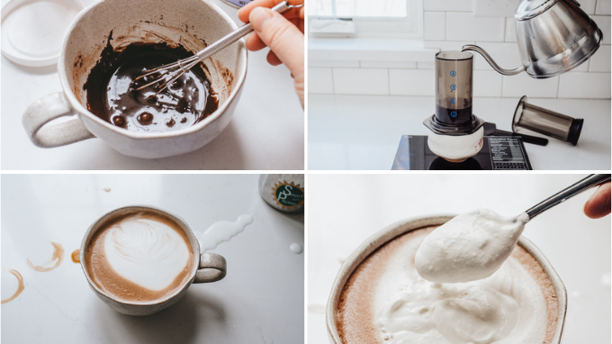 Step for making a caffe mocha at home.