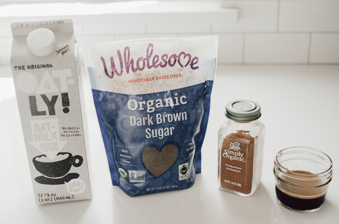 Ingredients for making an iced brown sugar oat milk shaken espresso at home.