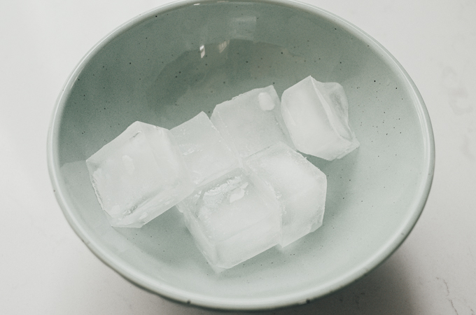 A bowl of ice cubes.