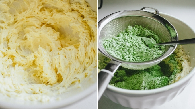 Beating the butter and sifting in the powdered sugar and matcha powder.
