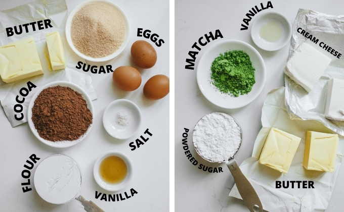 All of the ingredients needed for the brownies and the matcha frosting laid out on a counter.