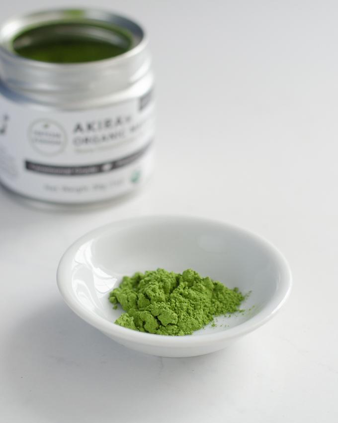 Akira ceremonial grade matcha green tea powder.