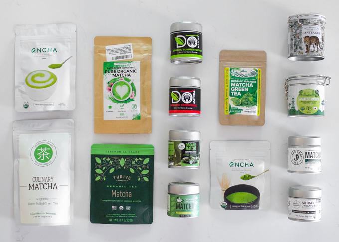 14 different green tea powders.