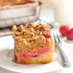 Strawberry Rhubarb Cake with Crumble Topping!