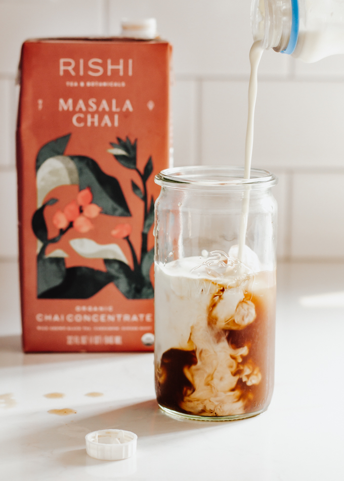 An iced chai latte recipe made with store bough chai concentrate.