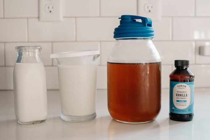 Ingredients for vanilla sweet cream cold foam.