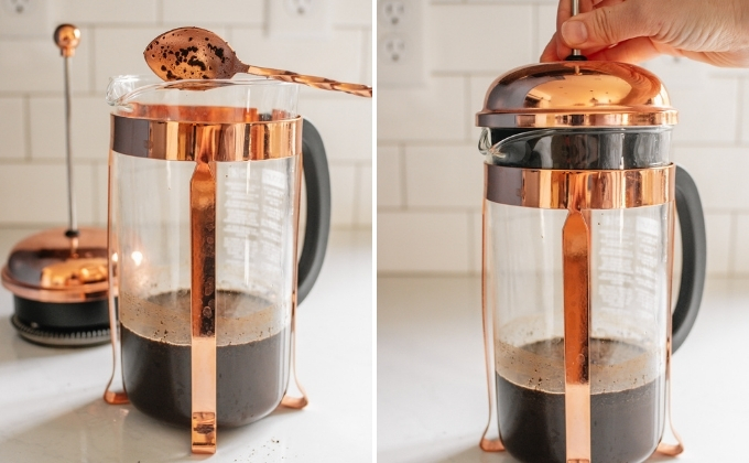 Making cold brew in a French press.
